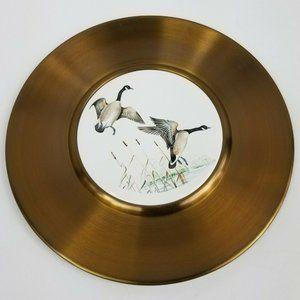 Spun Brass Plate Ducks in Flight Pond Nature Bird